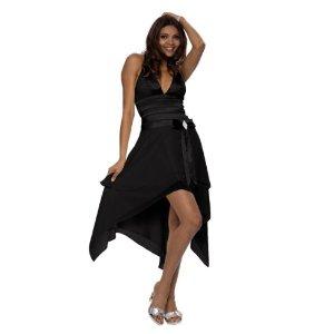 Knielanges, elegantes, schwarzes Cocktailkleid